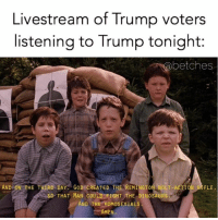 Dinosaur, God, and Twitter: Livestream of Trump voters  listening to Trump tonight:  Sabetches  AND ON THE THIRD DA  GoD CREATED THE REMINGTON BOLT-ACTION R FLE,  THAT MAN COULD FIGHT THE DINOSAURS.  AND THE HOMOSEXUALS  AMEN. We're live tweeting and snapping the debate tonight so make sure to follow us on twitter @ betchesluvthis and snapchat username the_betches for what will surely be a complete shit show. And make sure you sign up for the @betches_sup from the link in the bio!