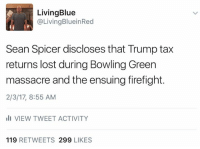 Kellyanne Conway is the gift that just keeps giving.: Living Blue  @Living Blu ein Red  Sean Spicer discloses that Trump tax  returns lost during Bowling Green  massacre and the ensuing firefight.  2/3/17, 8:55 AM  ill VIEW TWEET ACTIVITY  119  RETWEETS 299  LIKES Kellyanne Conway is the gift that just keeps giving.