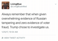 Another trait of a wannabe dictator.: Living Blue  @Living BlueinRed  Always remember that when given  overwhelming evidence of Russian  tampering and zero evidence of voter  fraud, Trump chose to investigate us.  1/25/17, 10:54 AM  Ili VIEW TWEET ACTIVITY Another trait of a wannabe dictator.