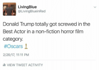 Memes, Fictional, and Fiction: Living Blue  Living BlueinRed  Donald Trump totally got screwed in the  Best Actor in a non-fiction horror film  category.  #Oscars  2/26/17, 11:11 PM  III VIEW TWEET ACTIVITY Just saying...