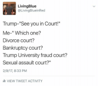 "Funniest Memes Mocking Trump: http://abt.cm/2jG04Xk  Thanks to Living Blue in a Red State for this one: Living Blue  @Living BlueinRed  Trump-""See you in Court!""  Me-"" Which one?  Divorce court?  Bankruptcy court?  Trump University fraud court?  Sexual assault court?""  2/9/17, 8:33 PM  III VIEW TWEET ACTIVITY Funniest Memes Mocking Trump: http://abt.cm/2jG04Xk  Thanks to Living Blue in a Red State for this one"