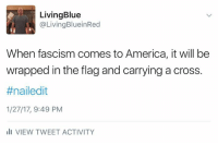 There is debate about who the author is but they nailed it.: Living Blue  @LivingBluein Red  When fascism comes to America, it will be  wrapped in the flag and carrying a cross.  #nail edit  1/27/17, 9:49 PM  III VIEW TWEET ACTIVITY There is debate about who the author is but they nailed it.