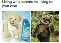 Vours: Living with parents vs. living on  vour own  Snuggle