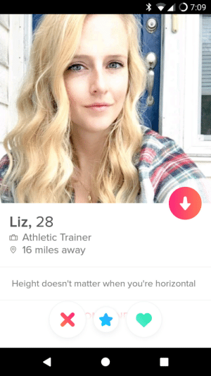 Hope, For, and Liz: Liz, 28  Athletic Trainer  16 miles away  Height doesn't matter when you're horizontal Finally, hope for us short guys?!