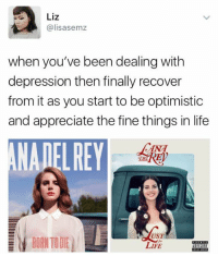 Born to Die, Life, and Memes: Liz  Galisasemz  when you've been dealing with  depression then finally recover  from it as you start to be optimistic  and appreciate the fine things in life  DET  UST  BORN TO DIE  LIFE ME