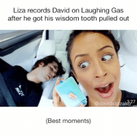 Memes, Vine, and youtube.com: Liza records David on Laughing Gas  after he got his wisdom tooth pulled out  @davidxlizzako27  (Best moments) Comment your favorite quote from this video• This needs to go viral I laughed so much doshy diza DavidDobrik Liza lizzza LizaKoshy lizzzakoshy davidandliza davidandlizzza lizaanddavid lizzzaanddavid vine YouTube dizzzanators daviddobriksuporter lizakoshysupporter youtubers vloggers laughinggas