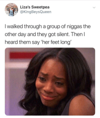 Blackpeopletwitter, Feet, and Got: Liza's Sweetpea  @KingBeysQueen  I walked through a group of niggas the  other day and they got silent. Then l  heard them say 'her feet long' <p>Like Goofy (via /r/BlackPeopleTwitter)</p>