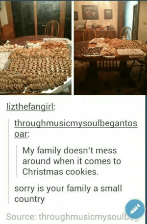 Cookie Nation: lizthefangirl:  throughmusicmysoulbegantos  oar  My family doesn't mess  around when it comes to  Christmas cookies.  sorry is your family a small  country  Source: throughmusicmysoulb Cookie Nation