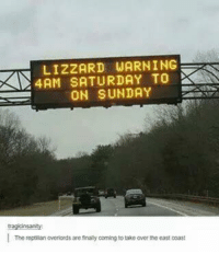 Reptilian Overlords: LIZZARD WARNING  4AM SATURDAY TO  ON SUNDAY  The reptilian overlords are finally coming to take over the east coast