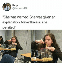 """Memes, Lost, and Tupperware: lizzy  @lizzywoolf2  She was warned. She was given an  explanation. Nevertheless, she  persited"""" """"Shouldnt have lost my tupperware if you didn't want this"""" - Mom • Follow @savagememesss for more posts daily"""