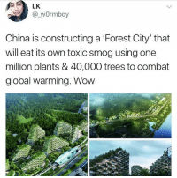 the future liberals want😤😤😤: LK  @_wOrmboy  China is constructing a 'Forest City' that  will eat its own toxic smog using one  million plants & 40,000 trees to combat  global warming. Wow the future liberals want😤😤😤