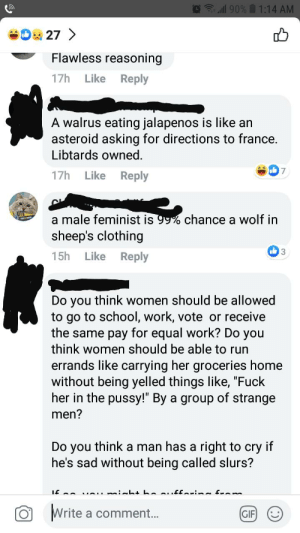 """I was very, very tempted to tell him shut the fuck up.: ll 90%  1:14 AM  27>  Flawless reasoning  Reply  17h  Like  A walrus eating jalapenos is like an  asteroid asking for directions to france.  Libtards owned.  7  17h  Like  Reply  a male feminist is 99% chance a wolf in  sheep's clothing  3  15h  Like  Reply  Do you think women should be allowed  to go to school, work, vote or receive  the same pay for equal work? Do you  think women should be able to run  errands like carrying her groceries home  without being yelled things like, """"Fuck  her in the pussy!"""" By a group of strange  men?  Do you think a man has a right to cry if  he's sad without being called slurs?  Write a comment...  GIF I was very, very tempted to tell him shut the fuck up."""