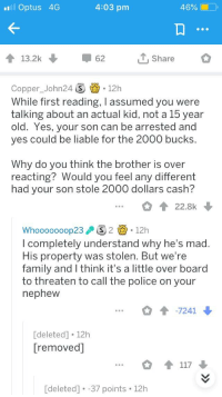 Facepalm, Family, and Police: ll Optus 4G  4:03 pm  46% (10,  13.2k  62  Share  Copper_John24S 12h  While first reading, I assumed you were  talking about an actual kid, not a 15 year  old. Yes, your son can be arrested and  yes could be liable for the 2000 bucks  Why do you think the brother is over  reacting? Would you feel any different  had your son stole 2000 dollars cash?  22.8k  Whooooooop23 2.12h  l completely understand why he's mad  His property was stolen. But we're  family and I think it's a little over board  to threaten to call the police on your  nephew  -7241  deleted] 12h  [removed]  [deleted]. -37 points 12h
