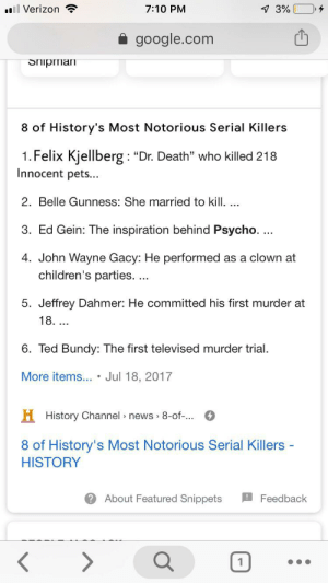 """Hmmm... History channel doesn't lie. You're a wanted man Felix, run.: ll Verizon  4  7:10 PM  7 3%  google.com  Shipman  8 of History's Most Notorious Serial Killers  1. Felix Kjellberg: """"Dr. Death"""" who killed 218  Innocent pets...  2. Belle Gunness: She married to kill. ..  3. Ed Gein: The inspiration behind Psycho. ...  4. John Wayne Gacy: He performed as a clown at  children's paties. ...  5. Jeffrey Dahmer: He committed his first murder at  18. ...  6. Ted Bundy: The first televised murder trial  More items... . Jul 18, 2017  H History Channel news 8-of-..  8 of History's Most Notorious Serial Killers -  HISTORY  About Featured Snippets  Feedback Hmmm... History channel doesn't lie. You're a wanted man Felix, run."""
