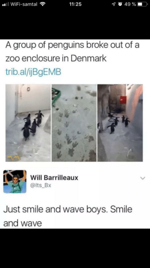 I dont know IF it fits here: ll WiFi-samtal  O 49 %  11:25  A group of penguins broke out of a  zoo enclosure in Denmark  trib.al/ijBgEMB  Will Barrilleaux  @lts_Bx  Just smile and wave boys. Smile  and wave I dont know IF it fits here