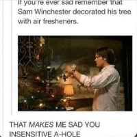 Ipad, Lazy, and Memes: ll you're ever Sad remember that  Sam Winchester decorated his tree  with air fresheners.  THAT MAKES ME SAD YOU  INSENSITIVE A-HOLE Well, ending this day on a happy note. Merry Christmas! Hope everyone has-had a great day. I got the original screenplay of 'Fantastic beasts and where to find them' Tales from the Shadowhunters academy. Username: Regenerated. And this really cool thing that I don't know the name of but it can hold my iPad, phone or book up because I'm too lazy for that... BUT MERRY CHRISTMAS!!🎄🎄