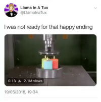 Memes, Videos, and Happy: Llama In A Tux  @LlamalnaTux  I was not ready for that happy ending  0:13 .l, 2.1 M views  19/05/2018, 19:34 follow @comediic for more videos ✨✨