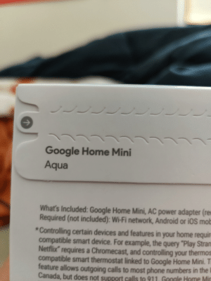 """Ugh, probably gonna be useless af.: LLLC  Google Home Mini  Aqua  What's Included: Google Home Mini, AC power adapter (re  Required (not included): Wi-Fi network, Android or iOS mob  Controlling certain devices and features in your home requir  compatible smart device. For example, the query """"Play Stran  Netflix requires a Chromecast, and controlling your thermos  compatible smart thermostat linked to Google Home Mini. T  feature allows outgoing calls to most phone numbers in the  Canada, but does not support calls to 911. Google Home Mir  7 Ugh, probably gonna be useless af."""
