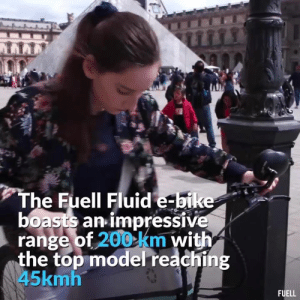 Memes, Best, and Http: LLLL  The Fuell Fluid e-bike  boasts an impressive  range of 200 km with  the top model reaching  45kmh  FUELL FUELL Fluid has the longest range, best pedal assist e-bike built by Erik Buell, check it out! 🔥  More info ➡ http://bit.ly/Fuell8shit  Fuell