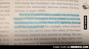 "I see what you did there…omg-humor.tumblr.com: lls that  pamine  luntary  ""sis that  have many key functions. One such function is to  control the autonomic nervous system (Iversen,  Iversen, & Saper, 2000).  The hypothalamus plays a major role in the regt-  lation of basic biological drives related to survival  including the so-called ""four F's"": fighting, fleeing  feeding, and mating For example, when research-  ers lesion the lateral areas (the sides) of the hypo-  on of a  200).  nd the  ne cen-  mation  thalamus, animals lose interest in eating. The ani-  flexes,  P). It is  Fion of  mals must be fed intravenously or they starve, even  in the presence of abundant food. In contrast, when  FUNNY STUFF ON MEMEPIX.COM  MEMEPIX.COM I see what you did there…omg-humor.tumblr.com"