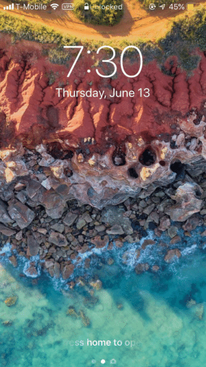 Home, Mobile, and Vpn: llT-Mobile  O 45%  JUhlocked  VPN  7:30  Thursday, June 13  ress home to ope I see people uploading their lock screens so here you go.