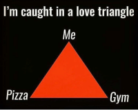 Sigh..: l'm caught in a love triangle  Me  Pizza  Gym Sigh..