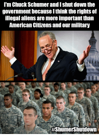 Chuck Schumer admitted to shutting down the government over DACA.: l'm Chuck Schumer and I shut down the  government because I think the rights of  legal aliens are more important than  American Citizens and our military  Chuck Schumer admitted to shutting down the government over DACA.