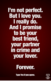 partner in crime: l'm not perfect.  But I love you.  I really do.  And I promise  to be your  best friend,  your partner  in crime and  your lover.  Forever  Type Yes if you agree.  RO