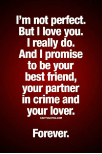 Best Friend, Crime, and Love: l'm not perfect.  But I love you.  I really do.  And I promise  to be your  best friend,  your partner  in crime and  your lover.  KINKYQUOTES.COM  Forever.