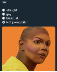 Bitch, Grindr, and Bisexual: lm:  straight  gay  bisexual  O Not joking bitch Oh at all