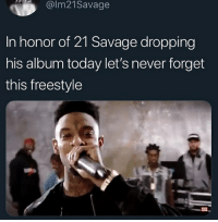 What's ur fav song from his recent album: @lm21Savage  In honor of 21 Savage dropping  his album today let's never forget  this freestyle  XXL What's ur fav song from his recent album
