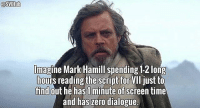I bet he had a blast reading it though. (Repost) Admin: Finn, SWHub: lmagine Mark Hamill spending 12 long  ours reading the script for  VII just to  find  out he has minute of  time  and has zero dialogue. I bet he had a blast reading it though. (Repost) Admin: Finn, SWHub