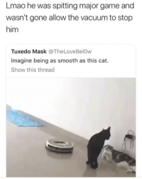 Now way this cat ain't getting it tonight. (Credit twitter users: @ _MikeMillion + @ TheLoveBel0w): Lmao he was spitting major game and  wasn't gone allow the vacuum to stop  him  Tuxedo Mask @TheLoveBelOw  Imagine being as smooth as this cat.  Show this thread Now way this cat ain't getting it tonight. (Credit twitter users: @ _MikeMillion + @ TheLoveBel0w)