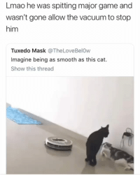 😂😂😂😂 (DM to your friend and we'll accept his-her follow request rightaway ✌ ): Lmao he was spitting major game and  wasn't gone allow the vacuum to stop  him  Tuxedo Mask @TheLoveBelOw  Imagine being as smooth as this cat.  Show this thread 😂😂😂😂 (DM to your friend and we'll accept his-her follow request rightaway ✌ )