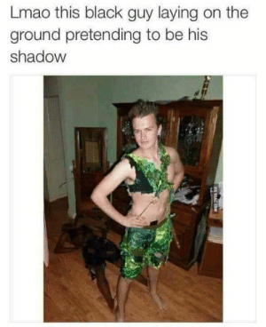 Halloween, Lmao, and Memes: Lmao this black guy laying on the  ground pretending to be his  shadow Lmao This Guys Halloween Costume via /r/memes https://ift.tt/2JiSSLh