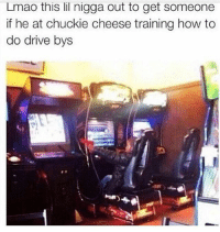 Funny, Lmao, and Drive: Lmao this lil nigga out to get someone  if he at chuckie cheese training how to  do drive bys Someone come get they little bro 😂😂