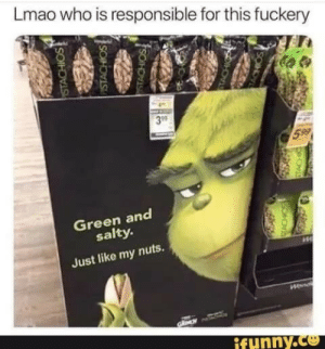 Lol: Lmao who is responsible for this fuckery  599  Green and  salty.  Just like my nuts.  Hena  ifunny.co  SONOVEA Lol