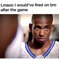 Fire, Lmao, and Nba: Lmaoo I would've fired on bro  after the game  QBasketballvines LMAO NAH STATIC IN LOCKER ROOM AFTER THE GAME