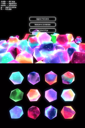 bobacupcake:  so chunks huh is now available to download on itch.io!!!!   its an Interactive So 🌟 Chunks Huh simulator to suit all your sparkly icosahedron needs. play it for free now!!   : lmb drag  rmb-spawn  mmb-WOOsh  p options  h- hide  sparkles  bounciness  ravity bobacupcake:  so chunks huh is now available to download on itch.io!!!!   its an Interactive So 🌟 Chunks Huh simulator to suit all your sparkly icosahedron needs. play it for free now!!
