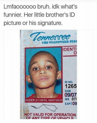 Memes, Little Brother, and 🤖: Lmfaoooooo bruh. idk what's  funnier. Her little brother's ID  picture or his signature.  THE VOLUNTEER STAT  IDENTI  ID NO.  1265  DOB  09/07  07/  UNDER 21 UNTIL 09/07/2031  ISS  EXP 0  OT VALID FOR OPERATION  F ANY TYPE OF re post oops