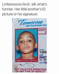 Bruh, Funny, and Pictures: Lmfaoooooo bruh. idk what's  funnier. Her little brother's ID  picture or his signature  THE VOLUNTEER STAT  IDENTI  ID NO  1265  DOB  09/07  ISS 07/  UNDER 21 UNTIL 09/07/2031  EXPE 09  OT VALID FOR OPERATION  OF ANY TYPE OF VEHICL 😂😂💀