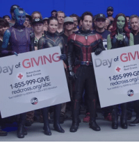 Best look at Ant-Man's updated suit in AVENGERS 4 from Marvel Studios' Day of Giving video.  (Andrew Gifford): LN  ay of GIVIN  American  Red Cross  Day of GIV  1-855-999-GIVE  redcross.org/abc  American  Red Cross  make a $10 donation  1-855-999-G  redcross.org/  Text HARVEY to 90999 to make a Best look at Ant-Man's updated suit in AVENGERS 4 from Marvel Studios' Day of Giving video.  (Andrew Gifford)