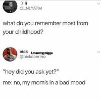 "Bad, Facts, and Memes: @LNLYATM  what do you remember most from  your childhood?  nick Lmaomyynigga  @nickccerino  RUH  ""hey did you ask yet?""  me: no, my mom's in a bad mood Facts 😩"