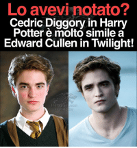 Harry Potter, Memes, and Twilight: Lo avevi notato?  Cedric Diggory in Harry  Potter molto simile a  Edward Cullen in Twilight!  nstagram  lvanHp CLAMOROSO. Lo avevate notato?! Stessi lineamenti RobertPattinson CedricDiggory HarryPotter EdwardCullen Twilight IvanHpEw