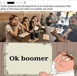 This is staged as shit but still fitting by RetrogradeIntellect MORE MEMES: lo hours ago S  Posted by  Joyful parents and dismayed kids at an Australian restaurant that  gives a 10% discount when no mobiles are used!  Ok boomer  MENU This is staged as shit but still fitting by RetrogradeIntellect MORE MEMES