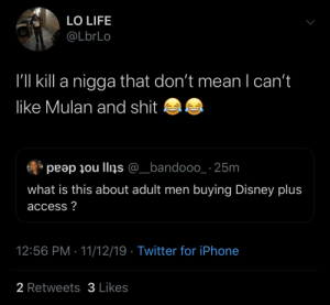 Stereotypes.: LO LIFE  @LbrLo  I'll kill a nigga that don't mean I can't  like Mulan and shit  peap ou llins @_bandooo_ 25m  what is this about adult men buying Disney plus  access?  12:56 PM 11/12/19 Twitter for iPhone  2 Retweets3 Likes Stereotypes.