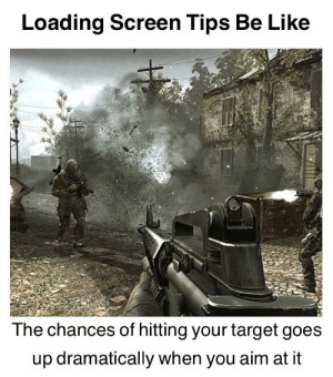 Make sure you pull the trigger by Sharp_RG2 MORE MEMES: Loading Screen Tips Be Like  The chances of hitting your target goes  up dramatically when you aim at it Make sure you pull the trigger by Sharp_RG2 MORE MEMES