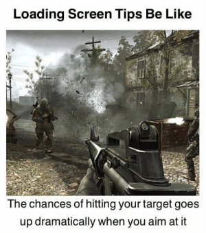 Be Like, Target, and Aim: Loading Screen Tips Be Like  The chances of hitting your target goes  up dramatically when you aim at it You'll die if you don't