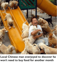 """Food, Memes, and Chinese: Local Chinese man overjoyed to discover he  won't need to buy food for another month <p>K via /r/memes <a href=""""http://ift.tt/2k5onOQ"""">http://ift.tt/2k5onOQ</a></p>"""