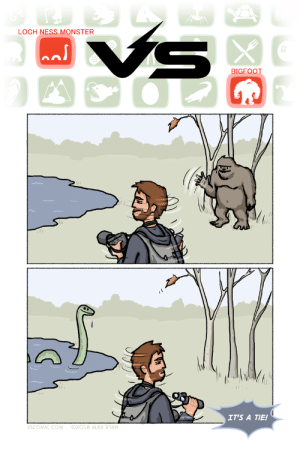 cryptids: LOCH NESS MONSTER  BIGFOOT  IT'S A TIE!  SCOMIC.COM92018 ALEX RYAN cryptids